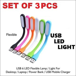 3 Pcs Flexible USB LED Light Lamp For Computer Reading Notebook Laptop PC