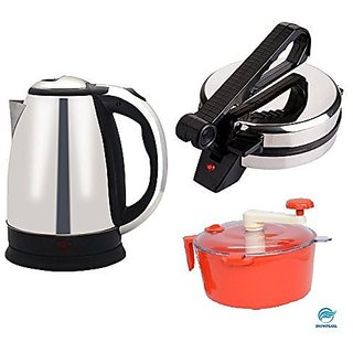 HD MART Combo of Electric 1.8 Ltrs Stainless Steel Kettle and Silver Roti Maker