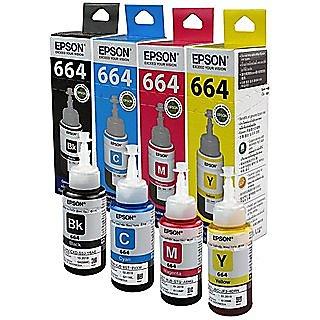 Ink Bottles- Set of 4 t664 epson Epson Ink T6641 Black Ink Pack of 3 For L100/L110/L200/L210/L300/L350/L355/L550