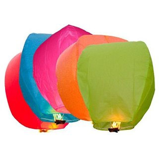Satya Multicolor Paper Sky Lanterns /Wish lanterns (Set of 3)