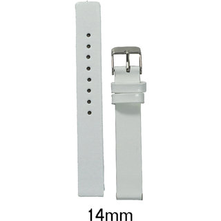kolet 14 Mm Glossy Finish Plain Leather Watchband (White)