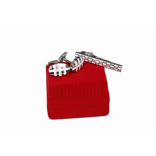 Copper Cufflink With Tie Pin Silver