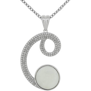 Joal Pearl Collection White 925 Sterling Silver Cubic Zirconia Pendants For Women