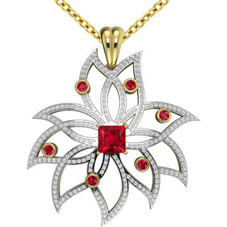 Joal Solitaire Collection Red 925 Sterling Silver Cubic Zirconia Pendants For Women