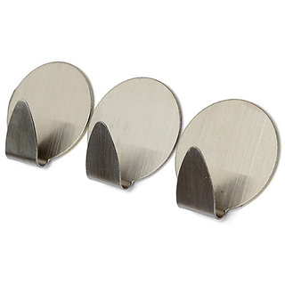 GC Stainless Steel Self Adhesive Hooks for Bathroom Kitchen and Room and - 3 Pieces