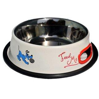 Petshop7 White 950 ML Medium Dog Bowl Stainless Steel Feeding Bowl