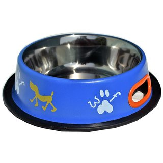 Petshop7 Blue 700 ML Medium Dog Bowl Stainless Steel Feeding Bowl