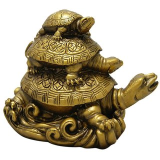 PujaShop Fengshui 3 Tier Tortoise Showpiece for Longevity, Love  Harmony of Family - 8 cm (H)