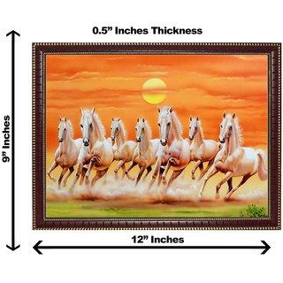 3d vastu 7 brown horse wall painting( size 09*12)