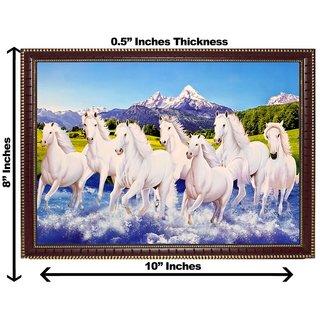 3d vastu 7 white horse wall painting( size 08*10)