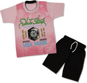 NOWT Pink Clock Cotton T-shirt & Pant set - PINK--SMPCLOCK18PIN22