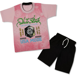 NOWT Pink Clock Cotton T-shirt & Pant set - PINK--SMPCLOCK18PIN22