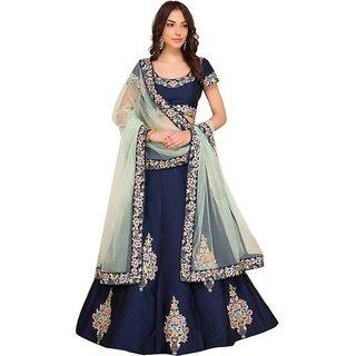 New Latest Bollywood Designer Natasha Blue Embroidered Lehenga Choli