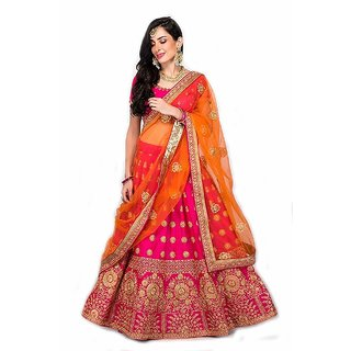 New Latest Bollywood Designer Linva Pink N Orange Embroidered Lehenga Choli