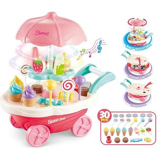 DK 30pcs Mini Sweet Cart Pretend Play Ice Cream Sweet Shop Lighting Music Children Educational Plastic Cosplay Kitchen Toys Set New