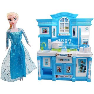 DollsnKings Frozen Kitchen Set + Frozen Princess Doll with Supercool Light Music