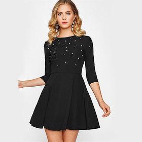 Fabrange  Black Polyester Stretchable Pearl Dress