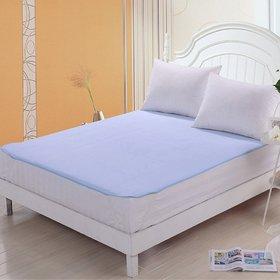 HomeStore-Yep Blue plastic Double Waterproof Mattress Protector Set of 1 (Size 187 Cm X 180 Cm , Elasticstrap)