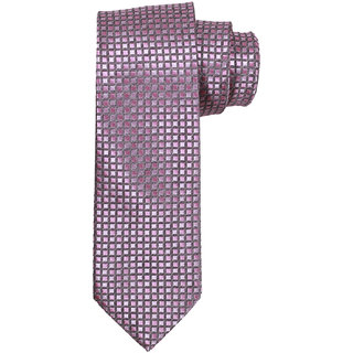 69th Avenue Men's Satin Checks Design Pink Necktie