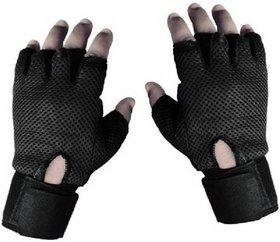 Tahiro Black Leather Fingerless Gym Gloves - 1 Pair