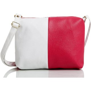 Fanddc Vegan Leather Women Sling Bag Pink White