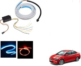 Auto Addict LED Dicky Light Ice Blue & Red DRL Brake with Side Turn Signal & Parking Indication Dicky, Trunk, Boot Strip Light For Hyundai Fluidic Verna 4s