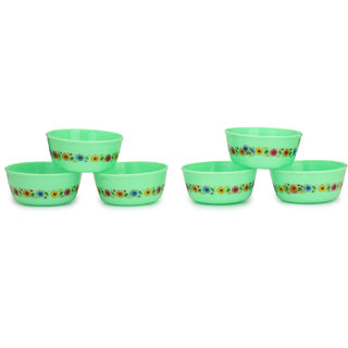 Somil Colorful Table ware Plastic Bowl Set Of Six (Green) For Daily Use For Daily Use-NP11