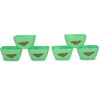 Somil Colorful Table ware Plastic Bowl Set Of Six (Green) For Daily Use-NP12