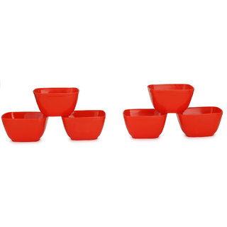 Somil Colorful Table ware Plastic Bowl Set Of Six (Red) For Daily Use-NP15