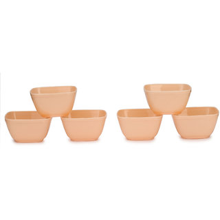 Somil Colorful Table ware Plastic Bowl Set Of Six (beige) For Daily Use-NP17