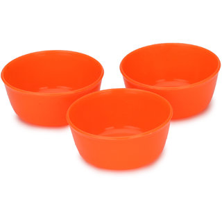 Somil Colorful Table ware Plastic Bowl Set Of Three (Orange) For Daily Use-NP18