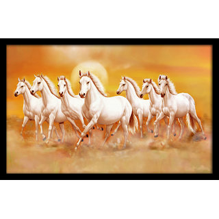 Madhav Art Special Effect Textured Horse Painting Framed Wall Art Paintings, 12 x 18 inch (Multicolour) (Skin orignal) (