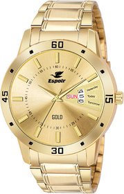 Espoir Gold Round Dial Stainless Steel Strap Analog Watch For Men - LatestGold0507