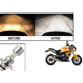 Kunjzone  Silver Missile Hi Low Beam H4 Bike Bulb Motorcycle LED Headlight Bulb For Mahindra Mojo