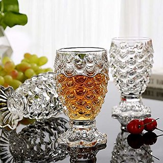 Fancy Craft Hot selling Crystal Clear Pineapple Shaped Whiskey Glasses Drinking Glass, 250 ml-Set of 6 Pieces