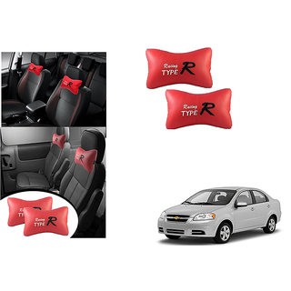 Kunjzone  Type R Red Car Neck Rest Cushion Set Of 2 for Chevrolet Aveo