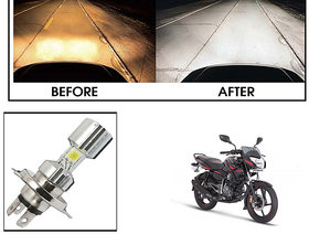 Kunjzone  Silver Missile Hi Low Beam H4 Bike Bulb Motorcycle LED Headlight Bulb For Bajaj Pulsar 135 LS