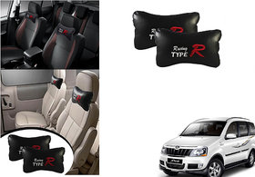 Kunjzone  Type R Black Car Neck Rest Cushion Set Of 2 for Mahindra Xylo