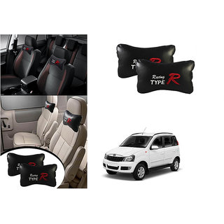 Kunjzone  Type R Black Car Neck Rest Cushion Set Of 2 for Mahindra Quanto