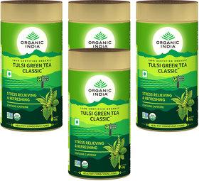 Organic India Tulsi Green Tea Classic 100 GM Tin- (Pack Of 4)