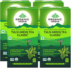 Organic India Tulsi Green Tea Classic - 25 Tea Bags- (Pack Of 4)