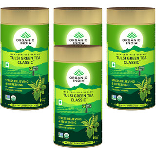 Organic India Tulsi Green Tea Classic 100 GM Tin- (Pack Of 4)