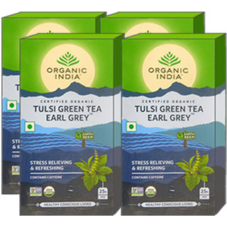 Organic India Tulsi Green Tea Earl Grey 25 Tea Bags- (Pack Of 4)