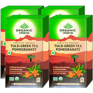 Organic India Tulsi Green Tea Pomegranate 25 Tea Bags- (Pack Of 4)