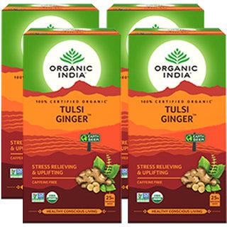 Organic India Tulsi Ginger 25 Tea Bag- (Pack Of 4)