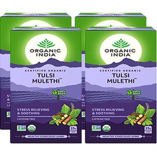 Organic India Tulsi Mulethi 25 Tea Bags- (Pack Of 4)
