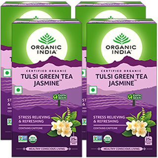 Organic India Tulsi Green Tea Jasmine 25 Tea Bags- (Pack Of 4)