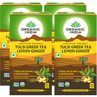 Organic India Tulsi Green Tea Lemon Ginger 25 Tea Bags- (Pack Of 4)