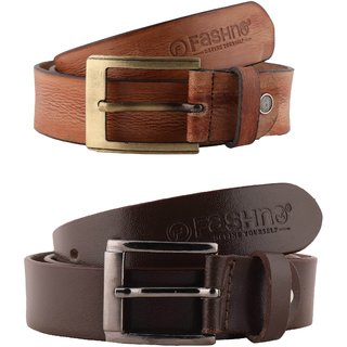 Fashno Combo Of Men Tan And Brown Genuine Leather Belt(FCMBT4006)