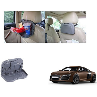 Kunjzone  Foldable Car Dining Meal Drink Tray Grey For Audi R8